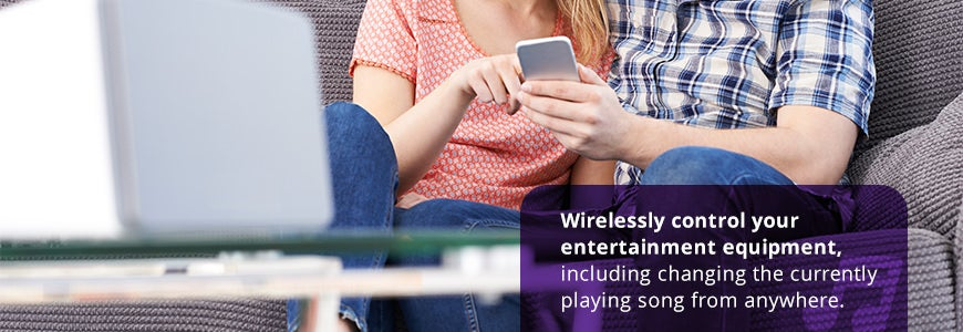 Wirelessly control your entertainment equipment including changing the currently playing song from anywhere.