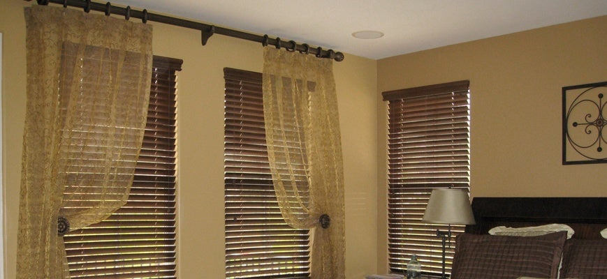 Curtains and Wood Blinds