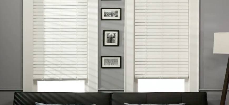 "1 ½"" White Faux Wood Blinds"