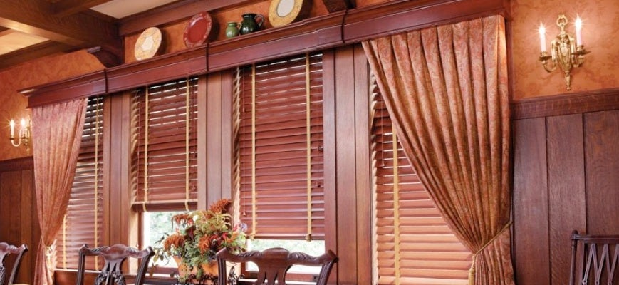 Faux Wood Blinds with Cornice