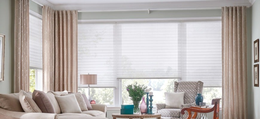 Honeycomb Shades with Curtains