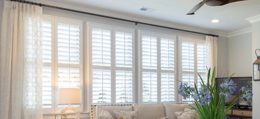 Curtains with Custom Plantation Shutters