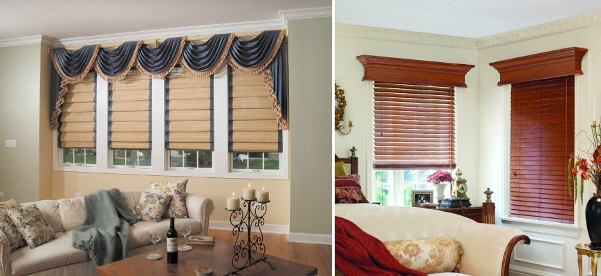 Wood Valances For Blinds In The Living Room