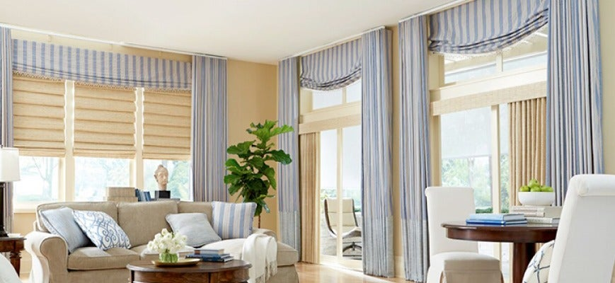 Drapery Panels with Wood Shades