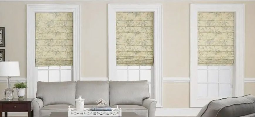 Living Room Window Ideas - Fabric Roman Window Shades