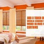 Add a Touch of Old World Charm by Using Wood Blinds with Curtains