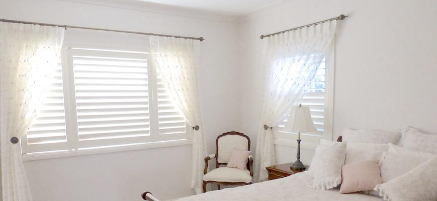 Shutters with Sheers