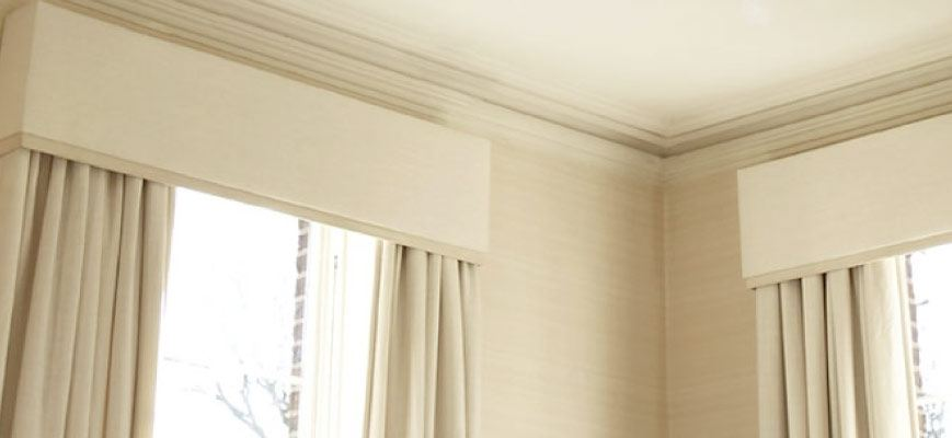 Combining Window Treatments:Combining Wood Crown Valance with Curtains