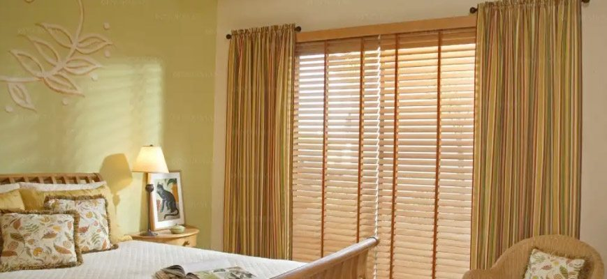 Sheer Curtains with Wood Blinds