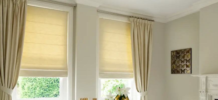 Curtains with Matching Roman Shades