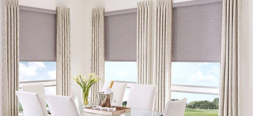 Roller Blinds with Draperies