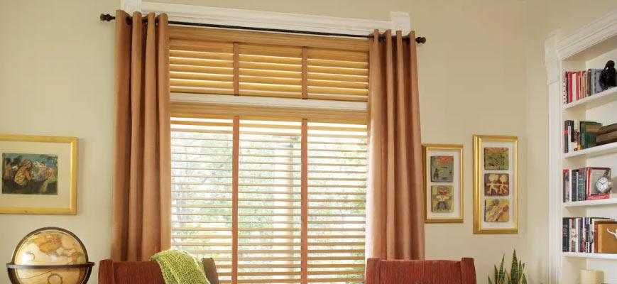 Faux Wood Blinds with Curtains