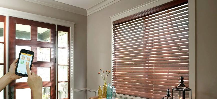 2.5 Inch Faux Wood Smart Privacy Blinds