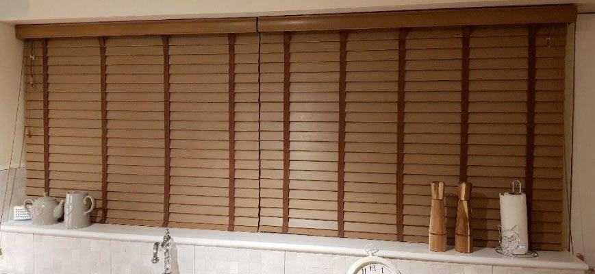 Brown Faux Wood Blinds