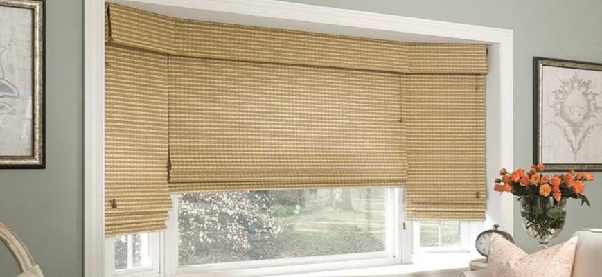 Woven Wood Shades for Bay Windows