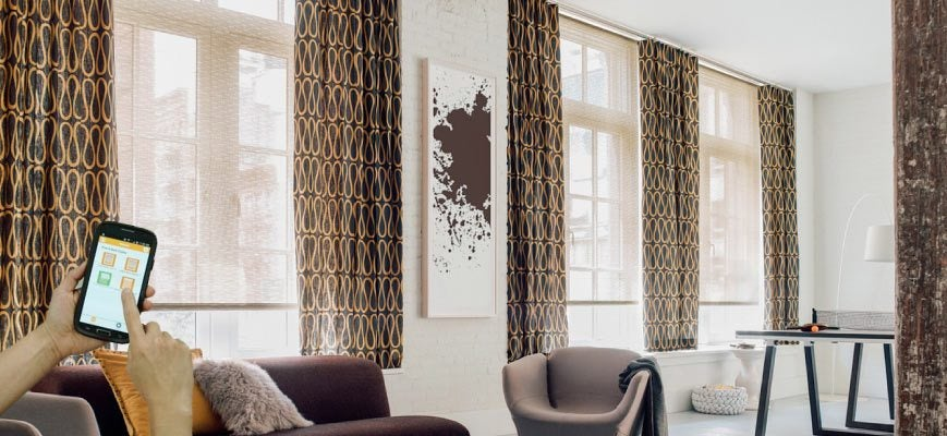Smart Roller Shades Layered with Drapery