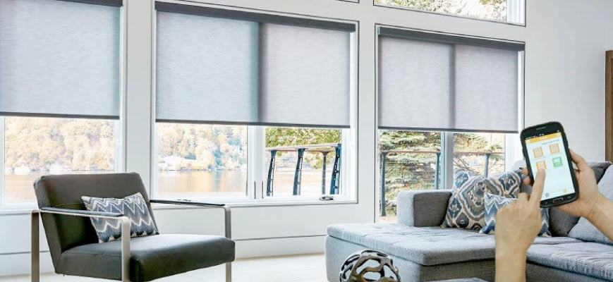 Z-Wave Roller Shades for Living Room