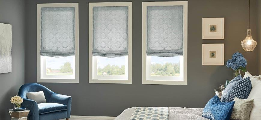 Relaxed Roman Shades for Bedroom