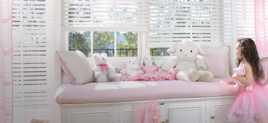 Cordless Faux Wood Blinds for Kids Room
