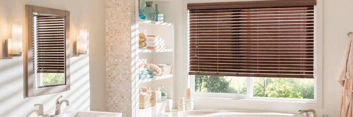 Faux Wood Blinds for Hot Tub Room