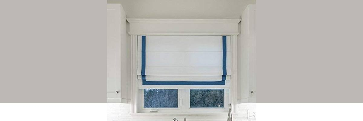 Blue Roman Shade with White Border