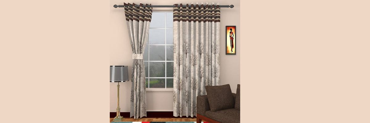 Polyester Floral Eyelet Curtains