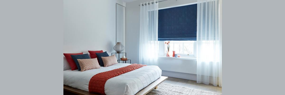 Blue Roman Shades with Sheer Curtains