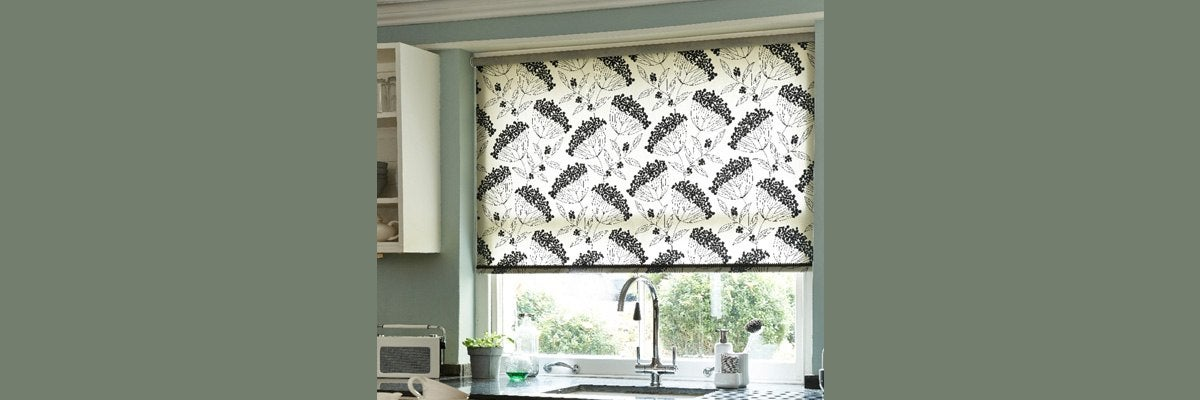 Floral Printed Black and Cream Roller Blinds