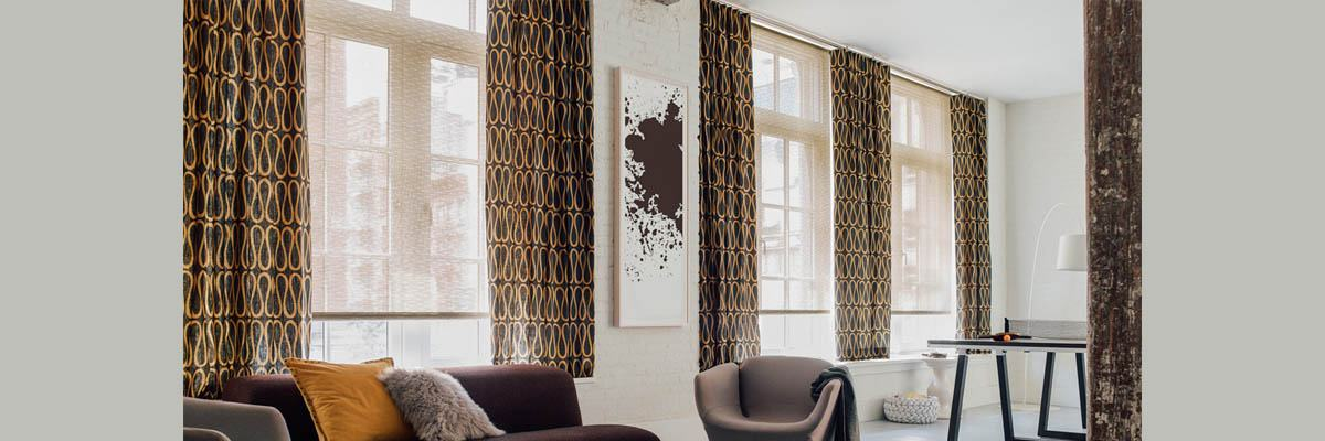 Roller Shades with Curtains