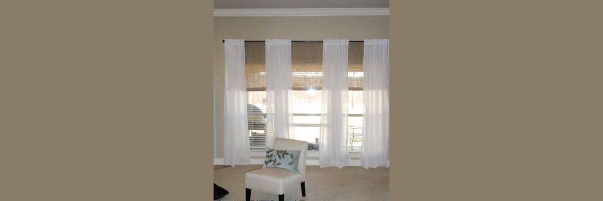 Sheer Curtains with Woven Blinds