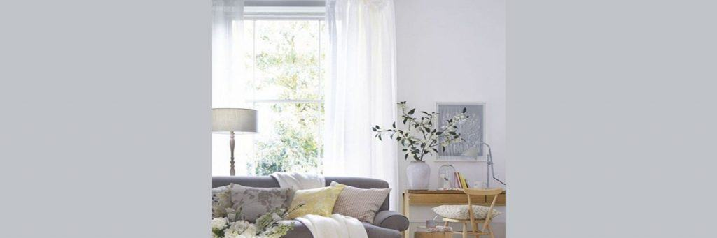 White Curtains for Grey Sofa