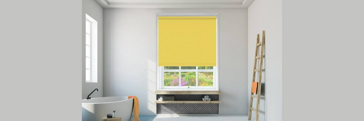 Yellow Roller Shades for Bathroom