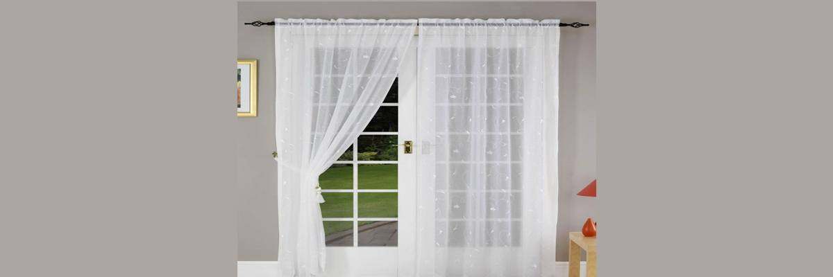 Semi-Sheer Floral Net Curtains for French Doors