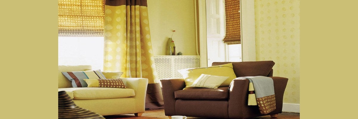 Curtains for Yellow Wall and Brown Furniture