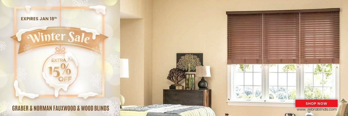 Save an additional 15% + Site wide discount on Graber & Norman Fauxwood & Wood Blinds
