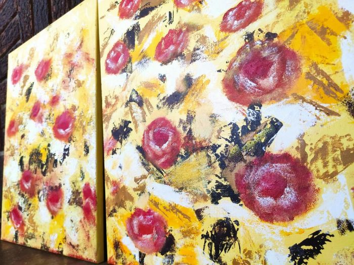 """Yellow with a touch of roses – 16"""" X 20"""" – 2 Pieces"""
